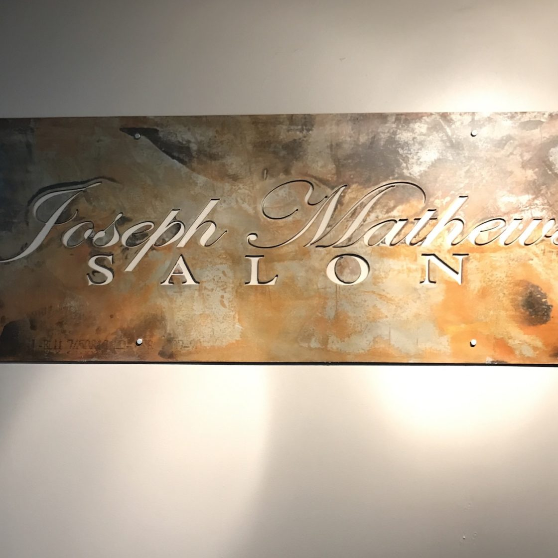 Joseph Matthews Salon Plasma Cut Steel Reception Sign