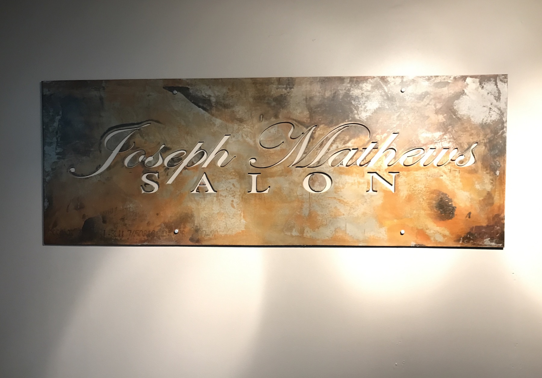 Joseph Matthews Salon Plasma Cut Steel Reception Sign