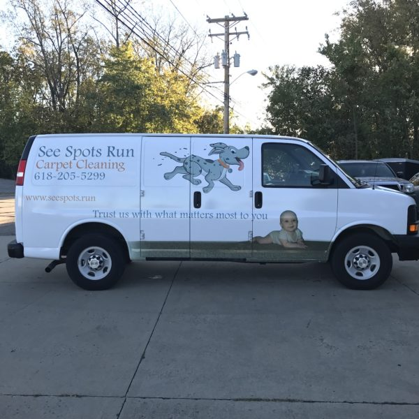 See Spots Run Partial Van Wrap
