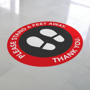 Please stand 6 feet away red vinyl floor circle